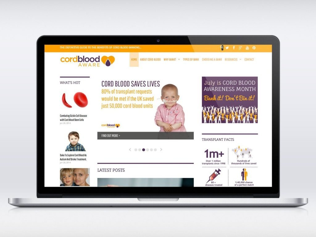 Cord Blood Aware Magazine Style Website Design