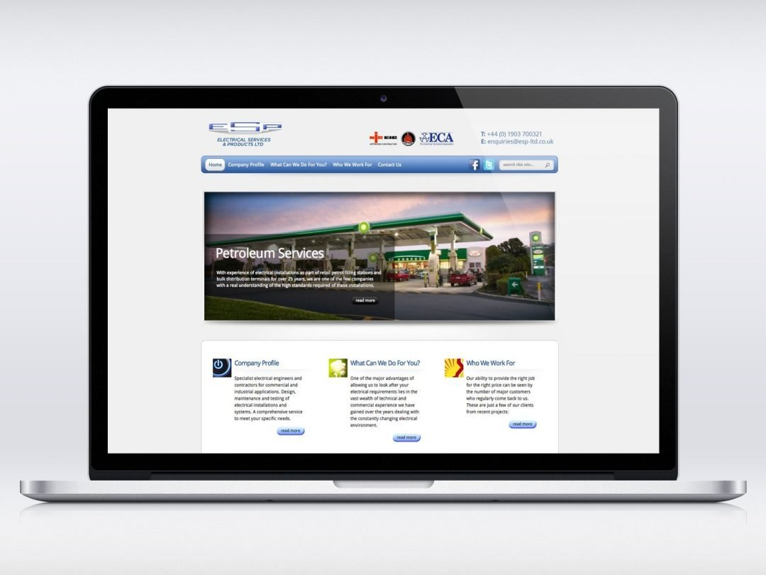 ESP Electrical website design - DogFish Design